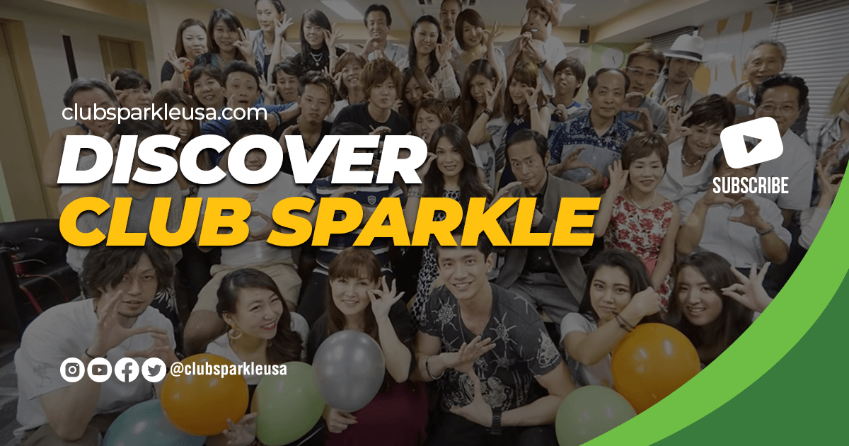 """An image that says """"discover club sparkle"""" with a subscribe YouTube logo and the @clubsparkle social media icons."""