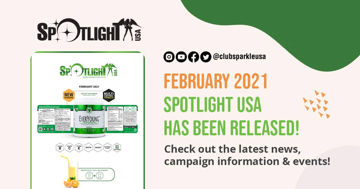 A graphic announcing the February 2021 Spotlight has been released. It also features the social media icons for Instagram, YouTube, Facebook, twitter, @clubsparkleusa, and the words February 2021 Spotlight USA has been released! Check out the latest news, campaign information & events!